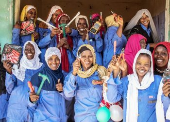 28 May 2019 - Am Timan, Chad. Group portrait of women trained as electrician as part of the Swedd projcet, in front of their workshop.