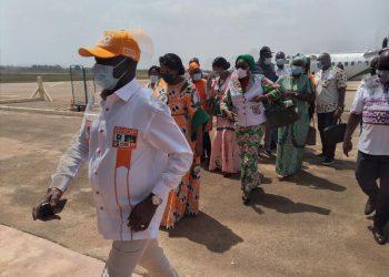 Adama Bictogo, le directeur exécutif du Rassemblement des Houphouetistes pour la démocratie et la paix (RHDP, au pouvoir), est arrivé ce vendredi 26 février 2021, à Bouaké, sur le coup de 13h30mn pour soutenir la liste Rhdp conduite par le ministre Amadou Koné dans la circonscription 060 (Bouaké ville)