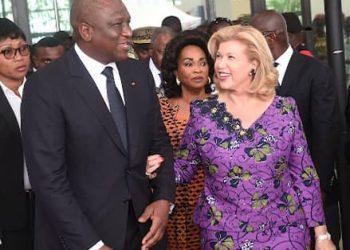 """Le couple Ouattara n'en finit pas de pleurer leur """"fils"""" Hamed Bakayoko, premier ministre de Côte d'Ivoire, décédé le 10 mars dernier en Allemagne."""
