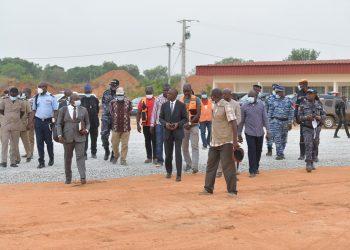 Dans le cadre des obsèques du Premier Ministre à Séguéla, le Ministre des Transports a effectué une visite de travail sur place 16 mars 2021.