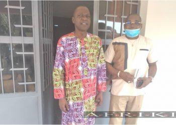 Le ministre ivoirien des transports Amadou Koné et son secrétaire d'état en charge des affaires maritimes, Serey Doh Célestin